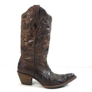 Corral Women Rustic Embroidered Cowboy Boots 8 M